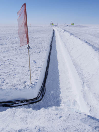 In order to protect the cables from passing vehicles, the cables are bundled up and placed in shallow trenches to be covered with snow.